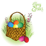 Easter-basket with eggs Royalty Free Stock Photos