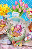 Easter basket with eggs and gingerbread bunny Royalty Free Stock Photography