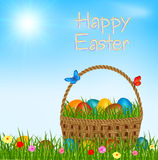 Easter basket with eggs - happy easter vector greeting card. Easter eggs in easter basket on green grass. Happy easter. Text on blue sky.Vector illustration vector illustration