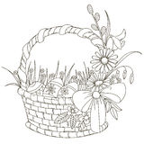 Easter basket. Basket with Easter eggs. Isolated outline on a white background. Vector illustration Royalty Free Stock Images