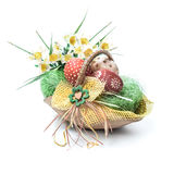 Easter basket with eggs isolated on white Stock Photos
