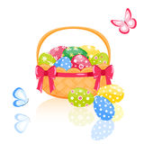 Easter basket with eggs Stock Images
