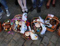 Easter basket, eggs, Orthodox Easter, Stock Photos