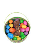 Easter basket with eggs and rabbit Stock Photo