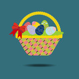 Easter Basket with eggs. And ribbon. Vector illustration Stock Image