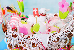 Easter basket with eggs and sheep figurine Stock Photography