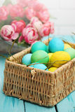 Easter basket of eggs Stock Photo