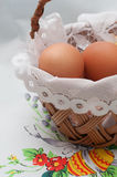Easter basket with eggs Stock Photos
