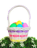 Easter Basket of Eggs on White Stock Photo