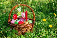 Easter basket, felt bunny, empty space. Royalty Free Stock Image