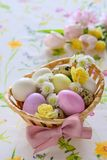 Easter basket festive arrangement on a table suface Royalty Free Stock Photography