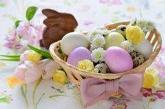 Easter basket festive arrangement on a table suface Stock Image