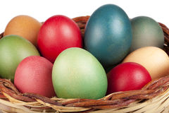 Easter Basket Filled Colored Eggs Closeup Royalty Free Stock Photography