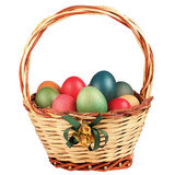 Easter Basket Filled Colored Eggs Isolated Royalty Free Stock Image