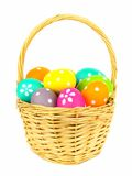 Easter basket filled with eggs isolated Royalty Free Stock Photo
