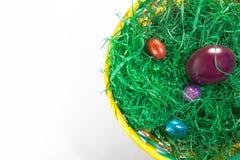 Easter basket flat lay stock image