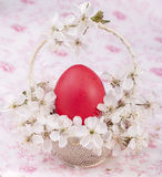 Easter basket on flower background Royalty Free Stock Photography