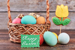 Easter basket and flower biscuit. Stock Photography