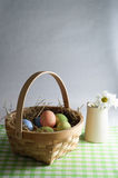 Easter Basket and Flower Jug Stock Photo