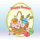 Easter basket with flowers Stock Photos