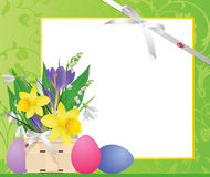 Easter basket with flowers and eggs. Royalty Free Stock Photo