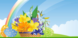 Easter basket with flowers and eggs. Stock Image