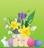 Easter basket with flowers and rabbit Stock Image
