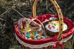 Easter basket cake. Easter basket with food, and Easter cake Royalty Free Stock Photography