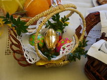 Easter basket with food Stock Photos