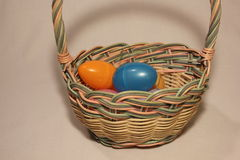 Easter basket full of colorful plastic eggs Stock Photography
