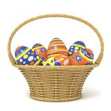 Easter basket full of decorated eggs. 3D Royalty Free Stock Photos