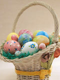 The Easter Basket full of Eggs stock photography