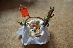 Easter basket 1. Basket full of food which a priest consacrates one day before Easter Stock Photo