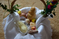 Easter basket 2. Basket full of food which a priest consacrates one day before Easter Royalty Free Stock Photo