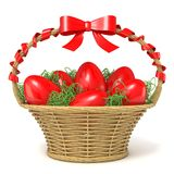 Easter basket full of red eggs with red ribbon bow. 3D Royalty Free Stock Image