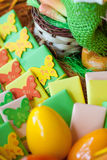 Easter basket full of treats. Easter basket full of sweet treats and eggs Royalty Free Stock Photography