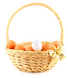 Basket with a golden bow Royalty Free Stock Photography