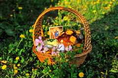 Easter basket on the grass with  dandelion Stock Photo