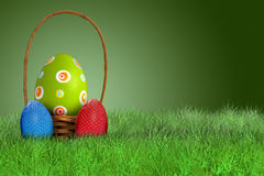 Easter basket on grass on green background Royalty Free Stock Photos