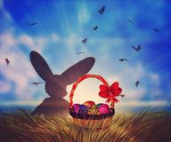 Easter Basket on Grass Stock Images