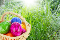 Easter basket on grass Royalty Free Stock Photos