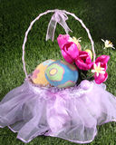 Easter basket in the grass - vertical Royalty Free Stock Photos