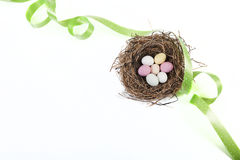 Easter basket with green ribbon Royalty Free Stock Image