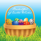 Easter basket greeting card Royalty Free Stock Images