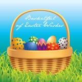 Easter basket greeting card vector illustration