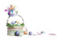 Easter Basket and Hat Stock Images