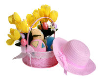 Easter basket and hat isolated on white Royalty Free Stock Photos