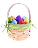 Easter Basket with iridescent eggs Stock Photos