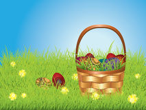 Easter Basket on Lawn Royalty Free Stock Image