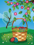 Easter Basket on Lawn Stock Photo